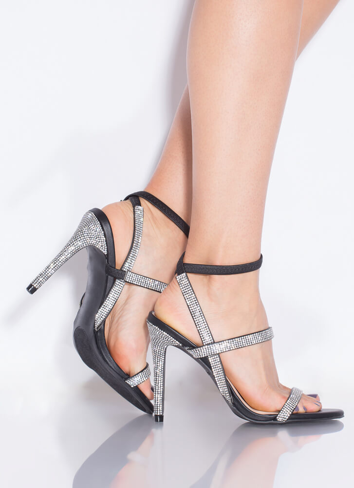 Bling To The Party Strappy Jeweled Heels BLACK