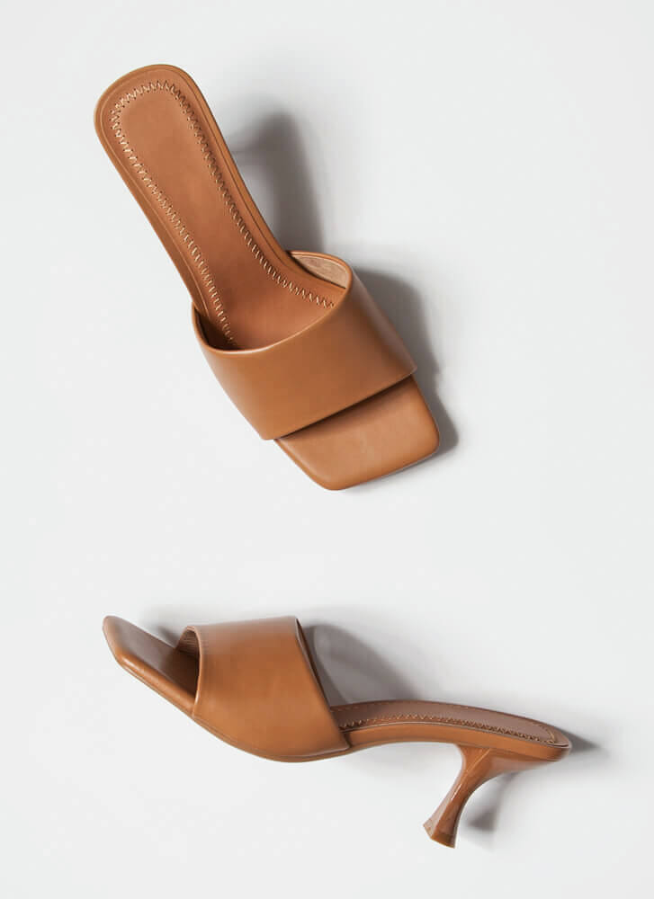 I'll Step In Faux Leather Mule Heels TAN
