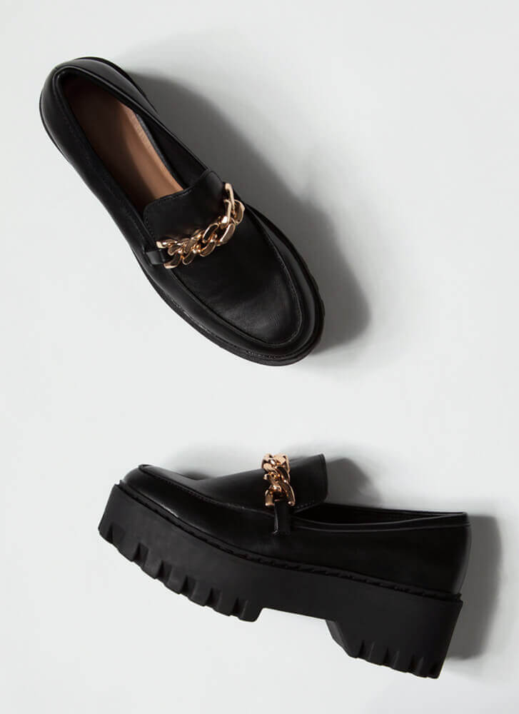 Chain-ge Faux Leather Platform Loafers BLACK