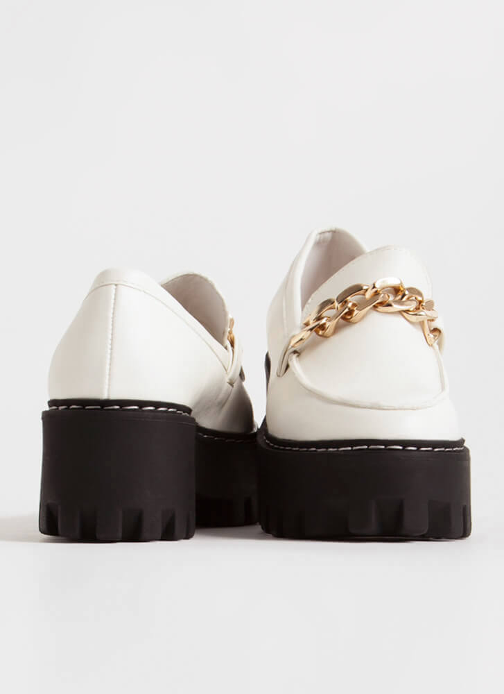 Chain-ge Faux Leather Platform Loafers WHITE