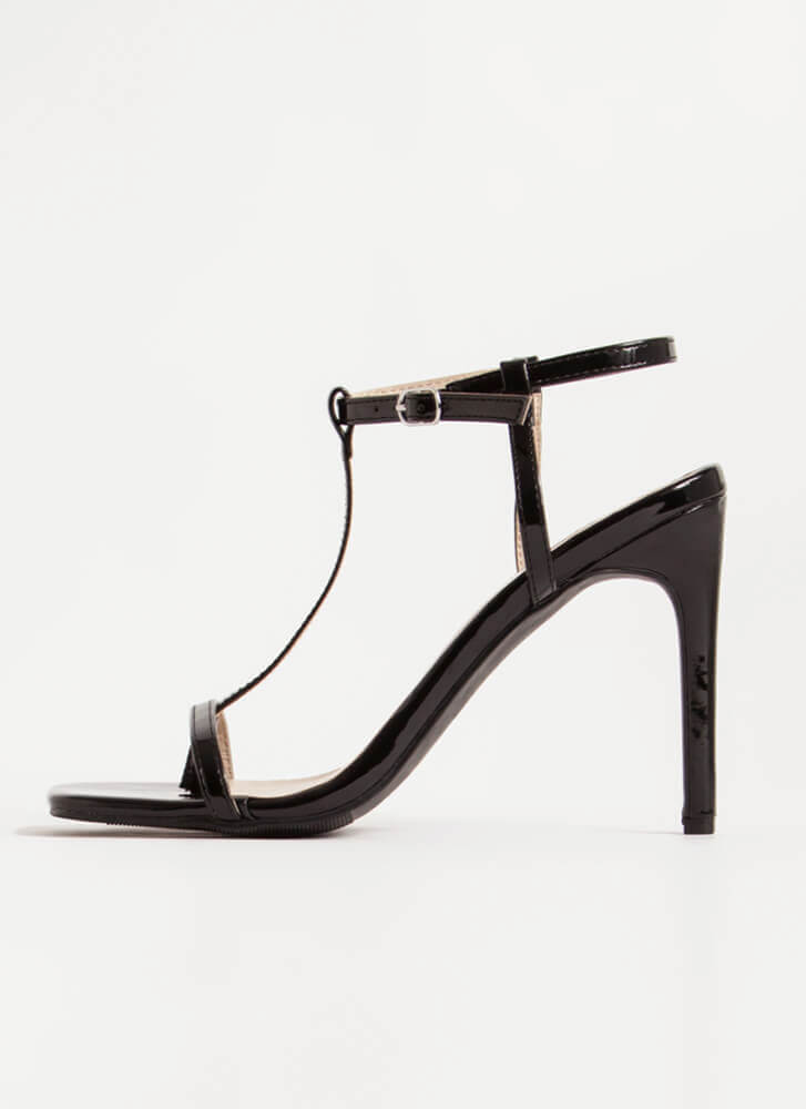 Fit To A T-Strap Faux Patent Thong Heels BLACK
