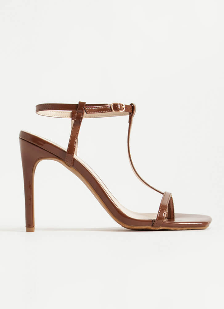 Fit To A T-Strap Faux Patent Thong Heels COGNAC