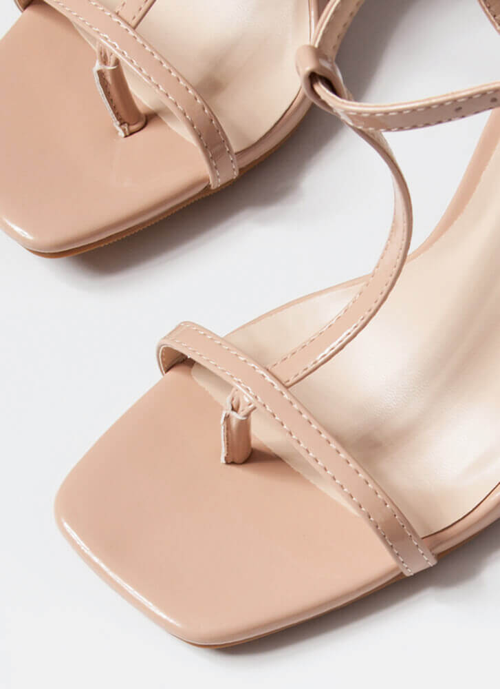 Fit To A T-Strap Faux Patent Thong Heels NUDE