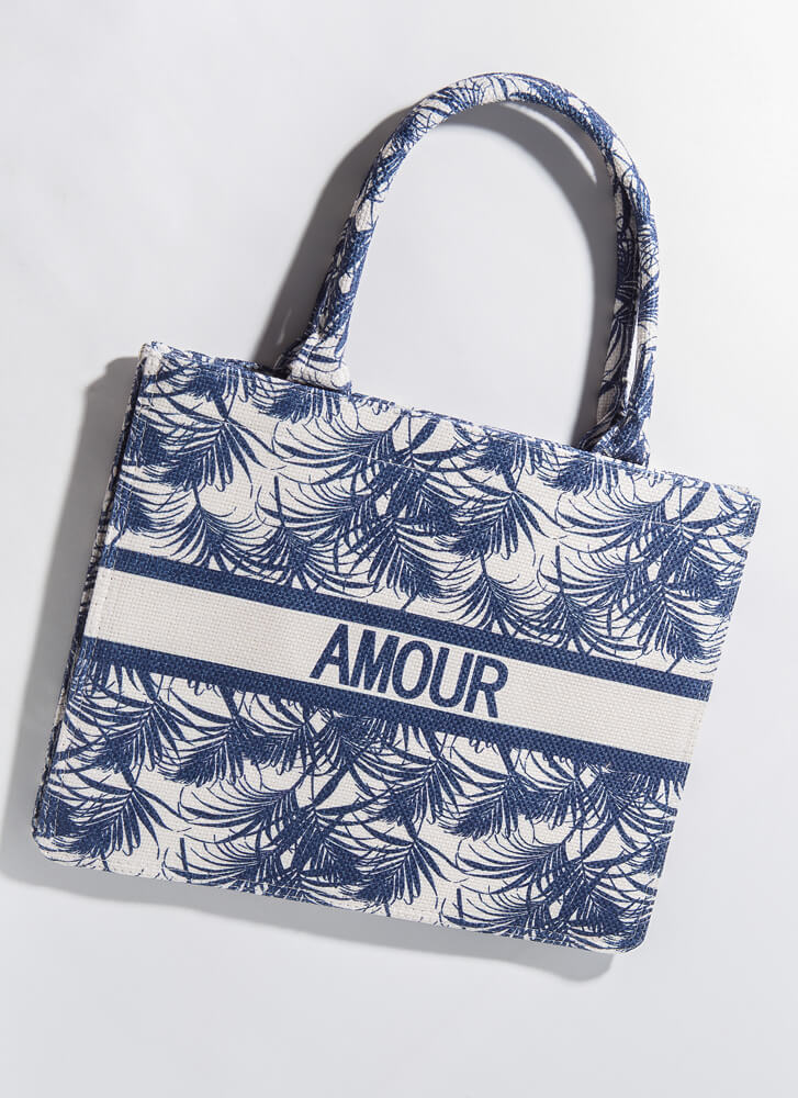 Amour Tropical Large Palm Frond Tote NAVY
