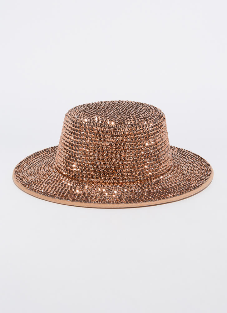 Sparkle And Flash Studded Boater Hat CHAMPAGNE