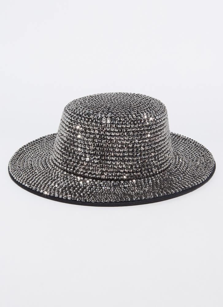 Sparkle And Flash Studded Boater Hat SILVER