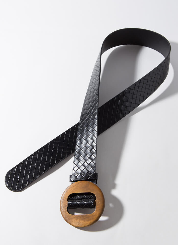 Give Me Texture Woven Round Buckle Belt BLACK