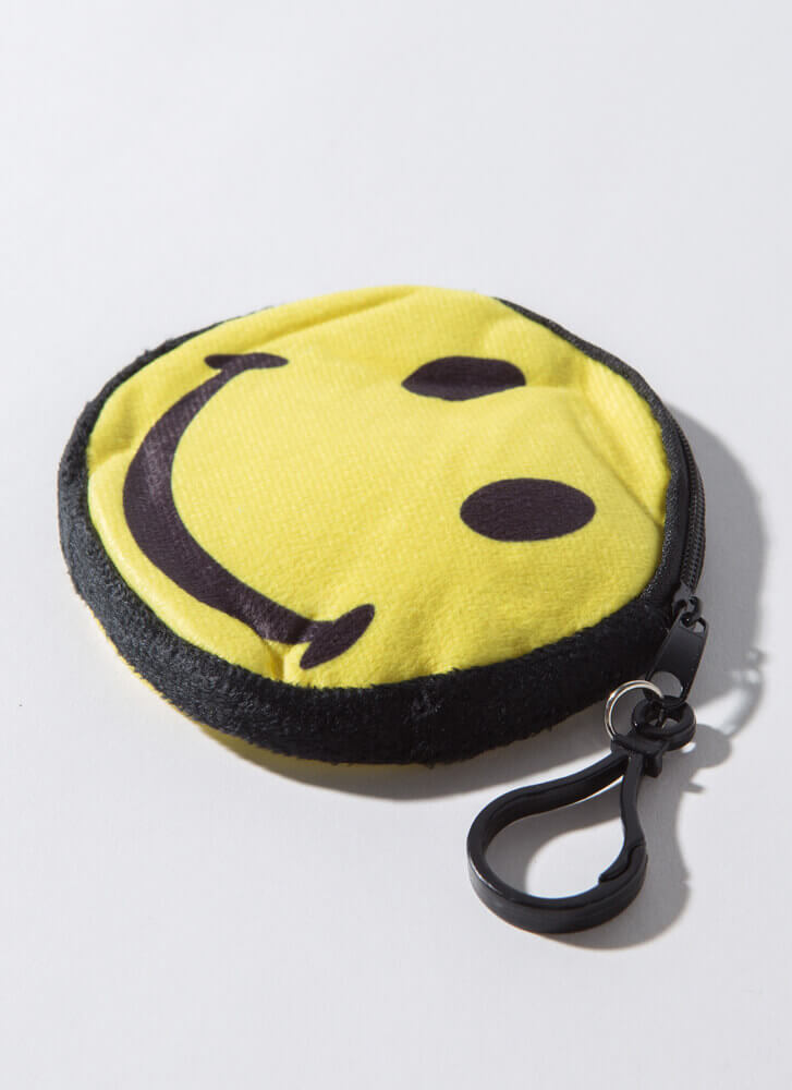 Keep Me Smiling Happy Face Coin Purse BLACK