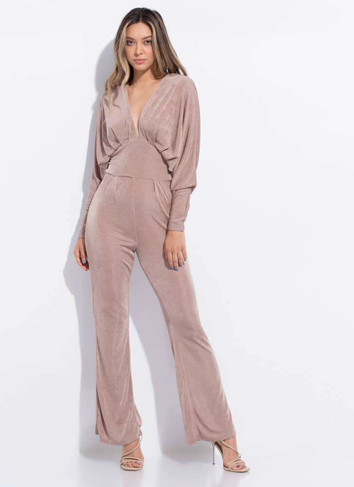 Taking The Plunge Dolman Sleeve Jumpsuit LTBROWN