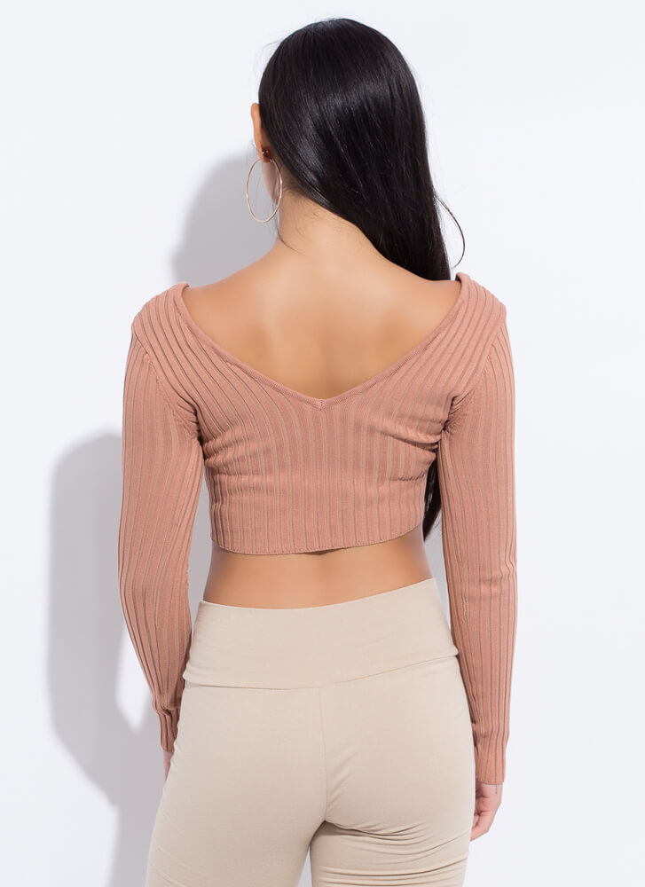 I've Got Needs Cropped Rib Knit Top BROWN