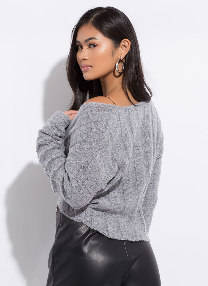 Hot And Cold Cropped V-Neck Knit Sweater HGREY