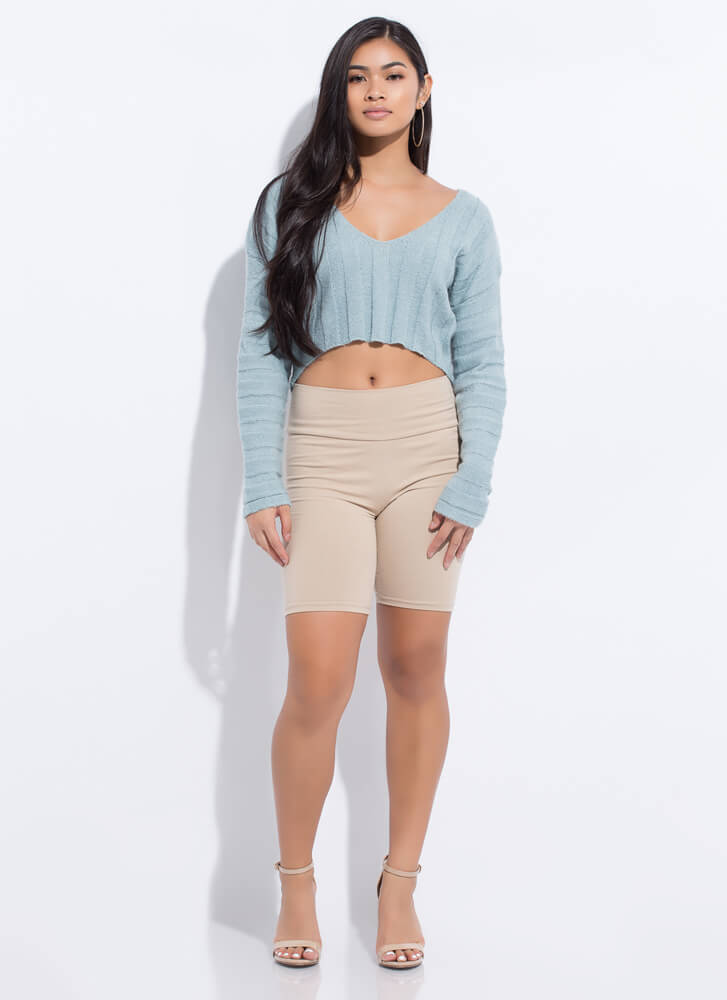 Hot And Cold Cropped V-Neck Knit Sweater TEAL