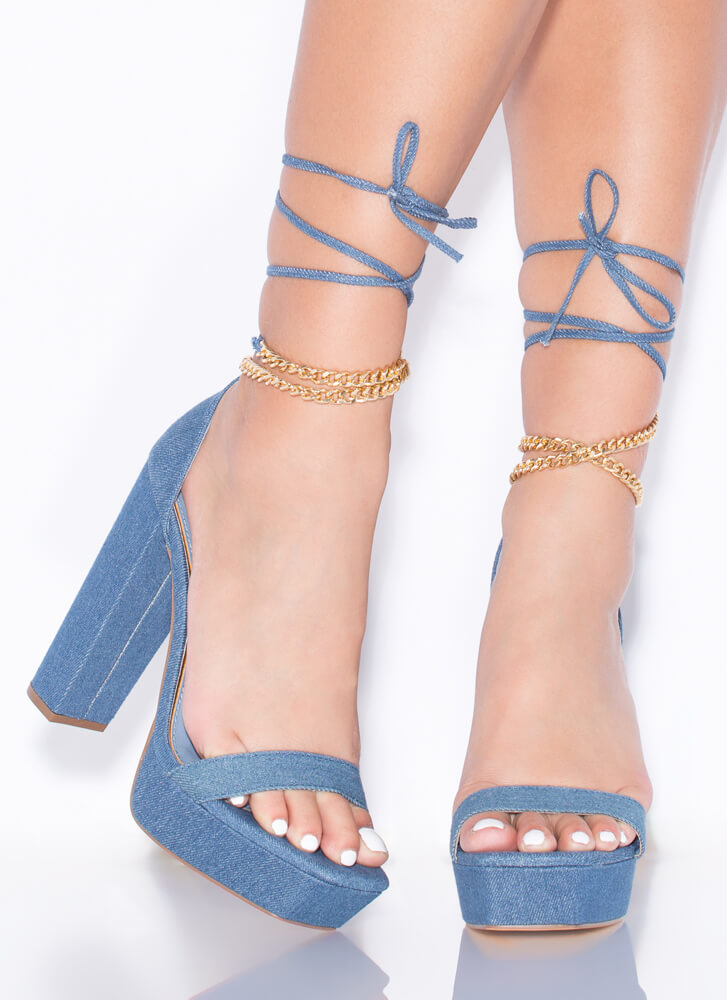 Chain-ge Up Chunky Lace-Up Platforms DENIM