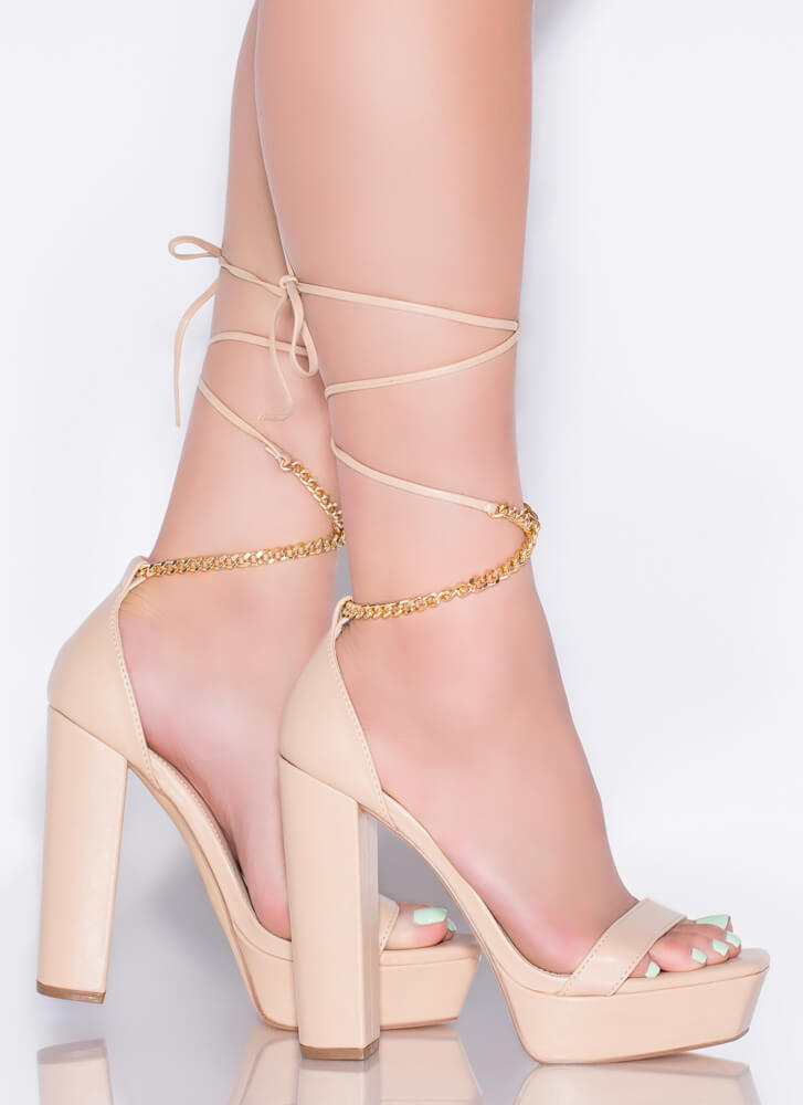 Chain-ge Up Chunky Lace-Up Platforms NUDE