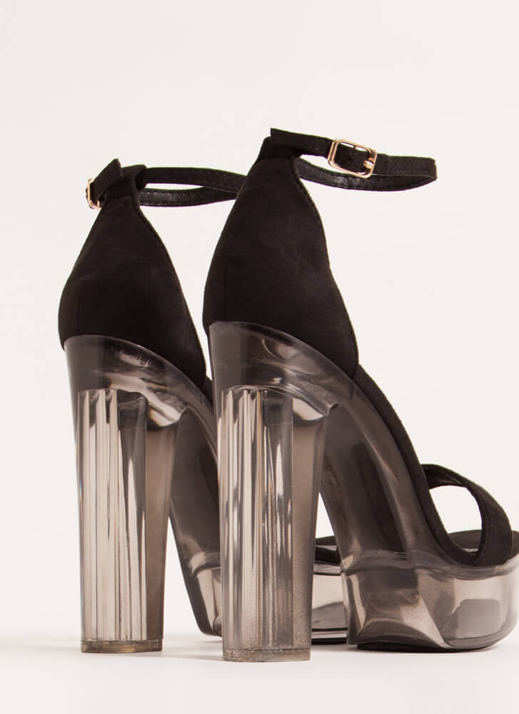 Clearly Sexy Chunky Lucite Platforms BLACK