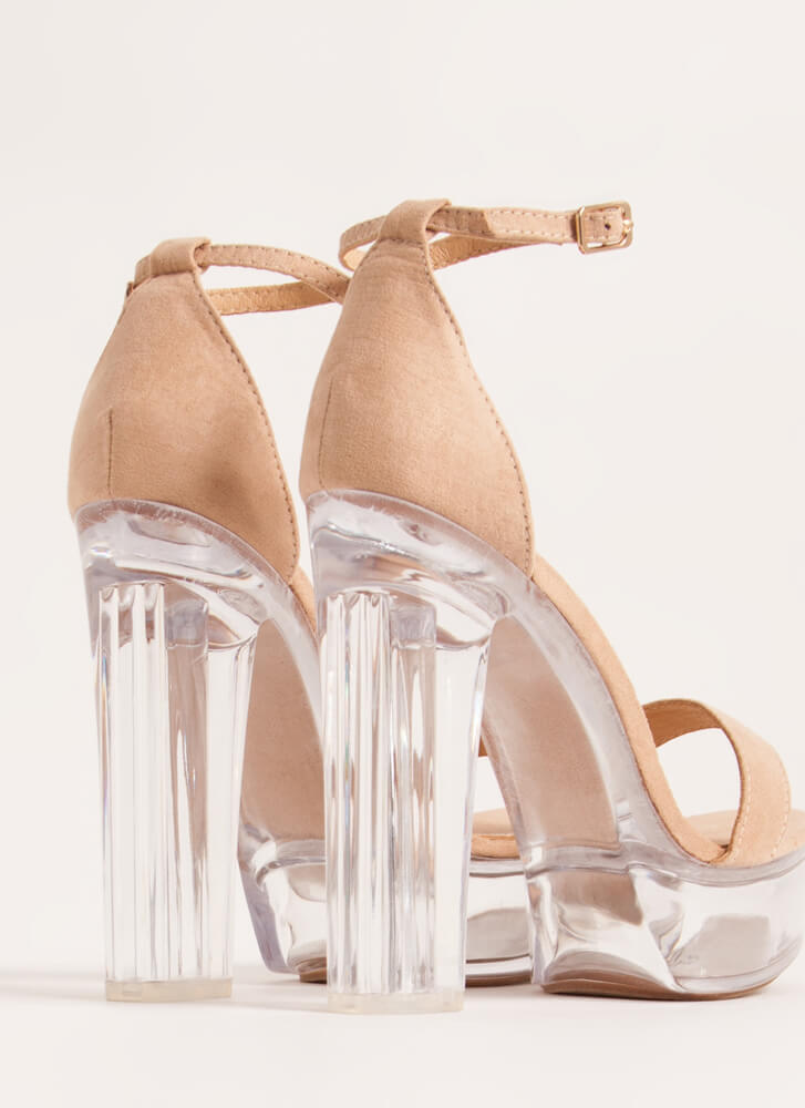 Clearly Sexy Chunky Lucite Platforms NUDE