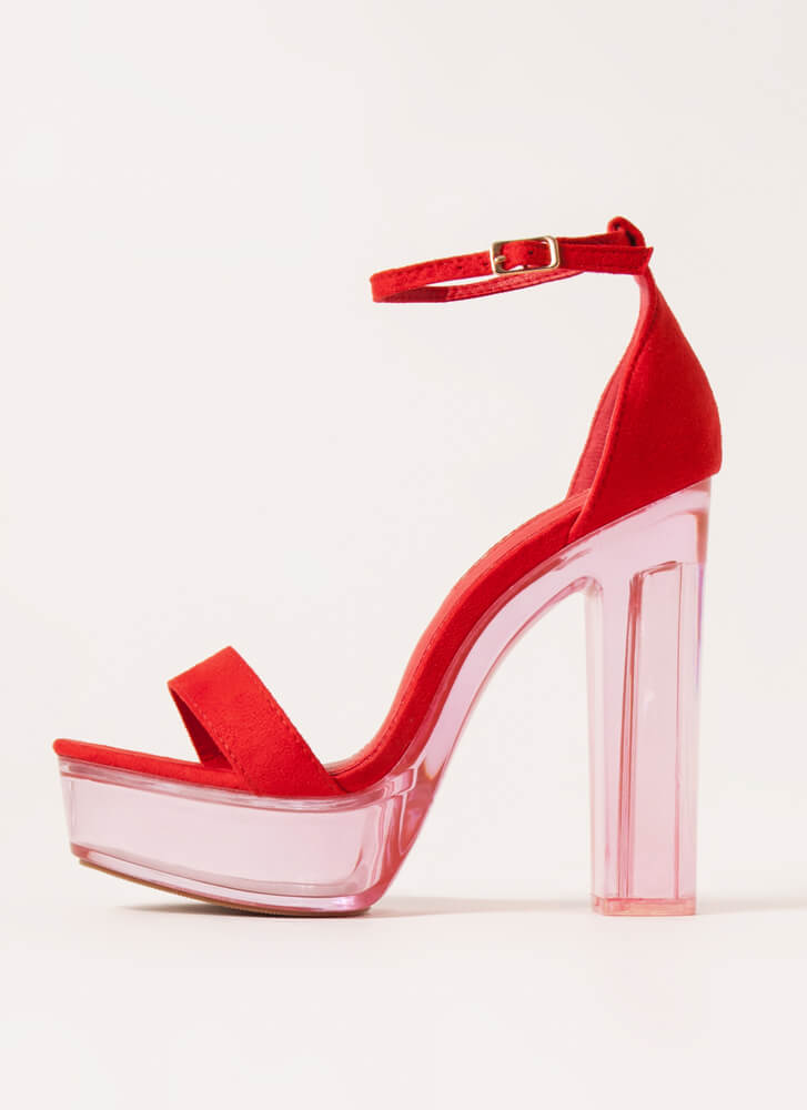 Clearly Sexy Chunky Lucite Platforms RED