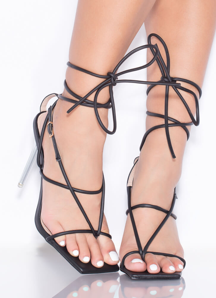 Miami Strappy Lace-Up Lucite Thong Heels BLACK