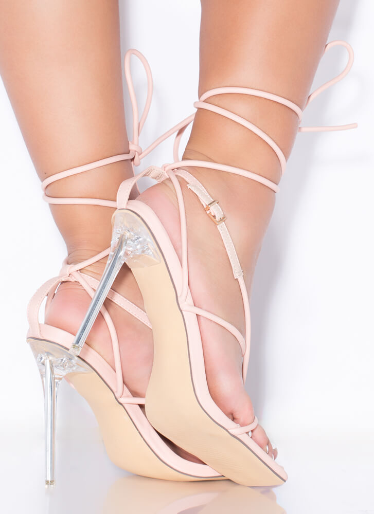 Miami Strappy Lace-Up Lucite Thong Heels NUDE