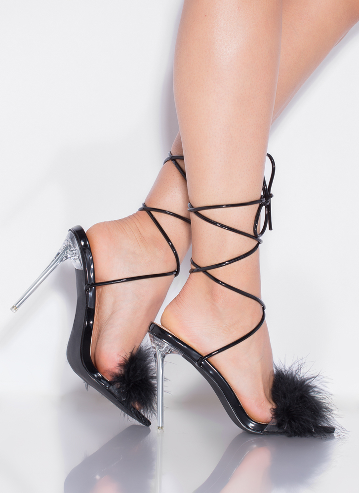 Good Night Feathery Lace-Up Heels BLACK