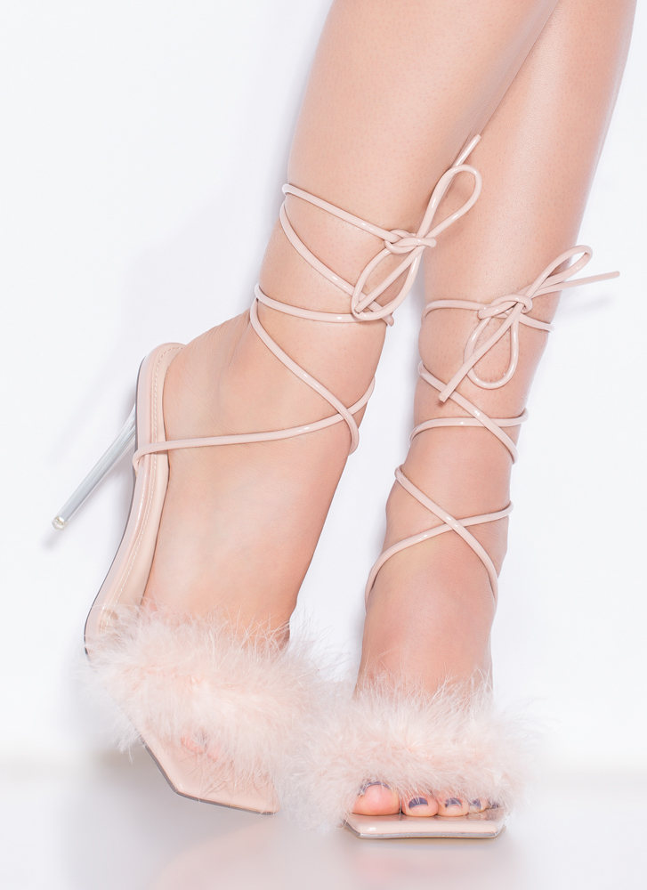 Good Night Feathery Lace-Up Heels NUDE