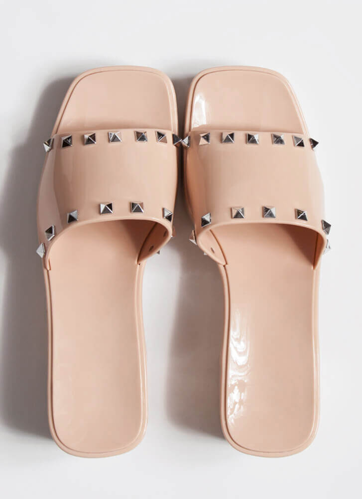 I'm So Jelly Studded Block Heel Sandals NUDE