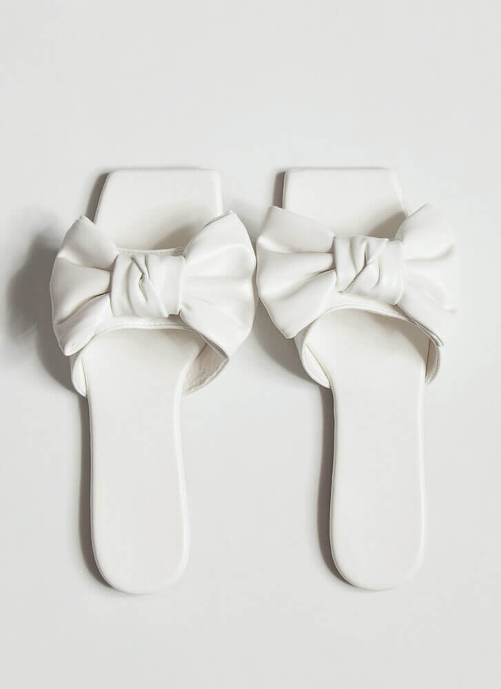 Bow Statement Faux Leather Slide Sandals WHITE