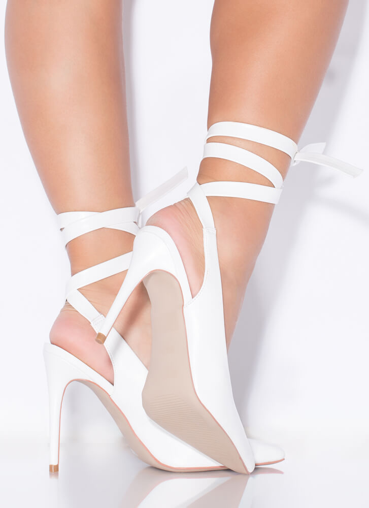 On Point Lace-Up Faux Leather Pumps WHITE