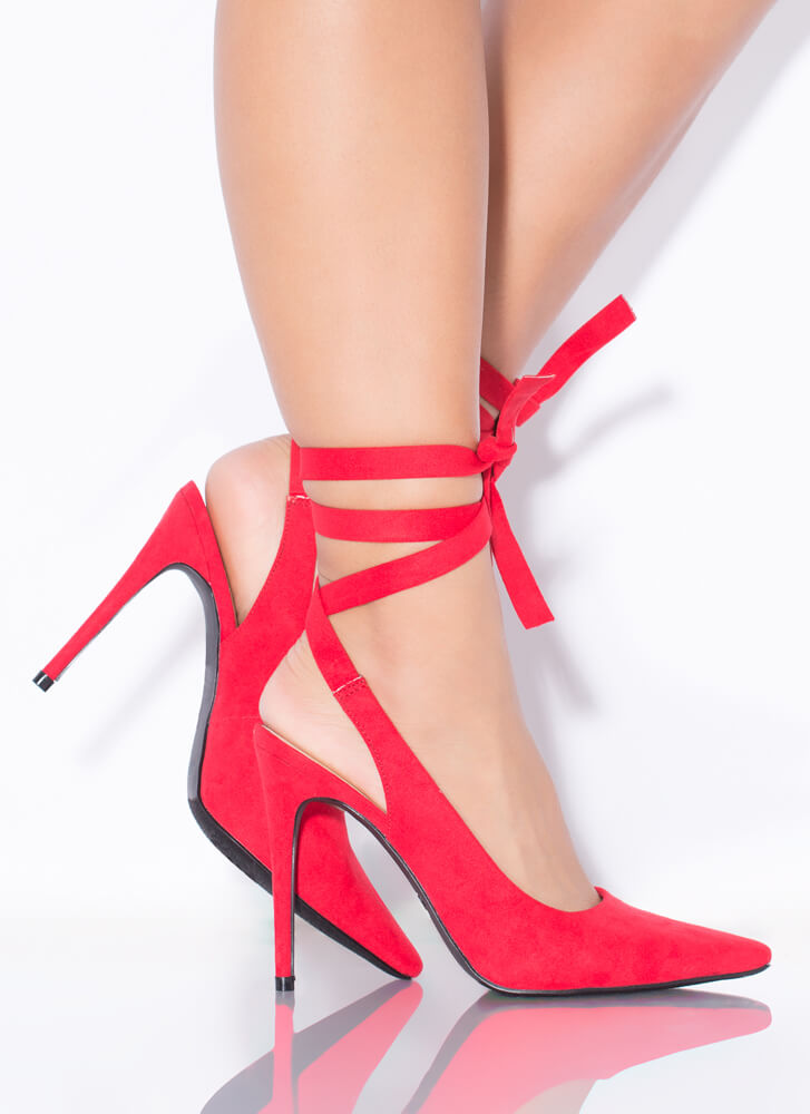 On Point Lace-Up Faux Suede Pumps RED