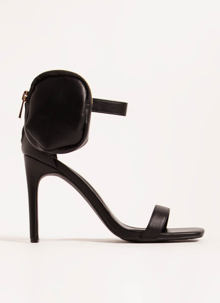 Carry On Pouch Accent Strappy Heels BLACK