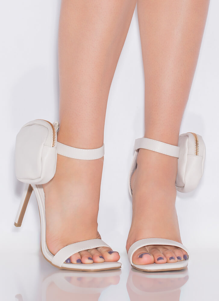 Carry On Pouch Accent Strappy Heels IVORY