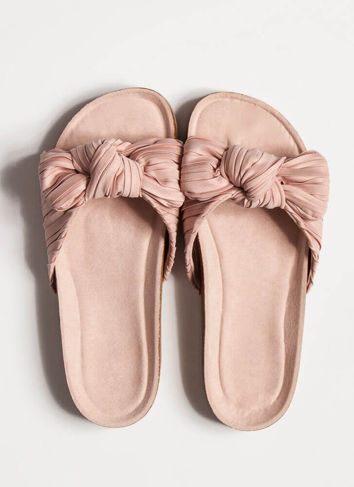 Pretty Pleats With A Knot On Top Sandals BLUSH