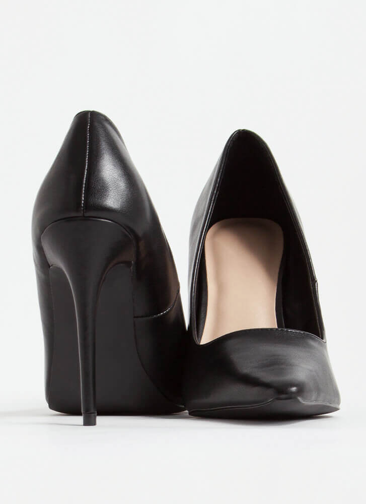 Classic Heel Pointy Faux Leather Pumps BLACK
