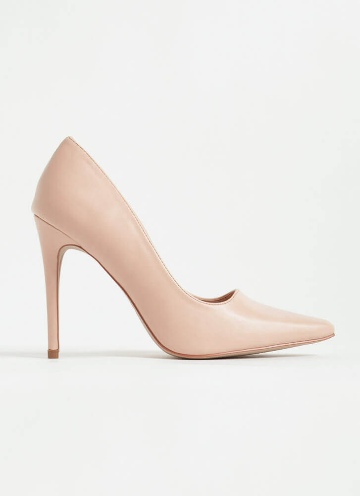 Classic Heel Pointy Faux Leather Pumps BLUSH