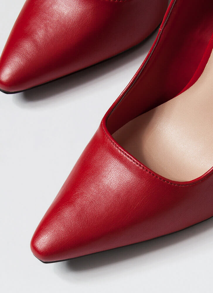 Classic Heel Pointy Faux Leather Pumps RED