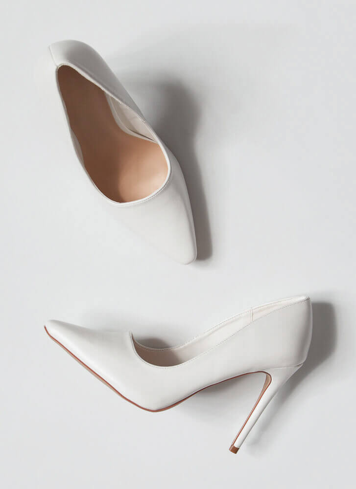 Classic Heel Pointy Faux Leather Pumps WHITE