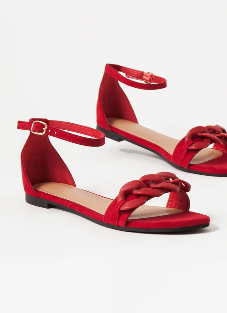 Chain Letter Faux Suede Sandals RED