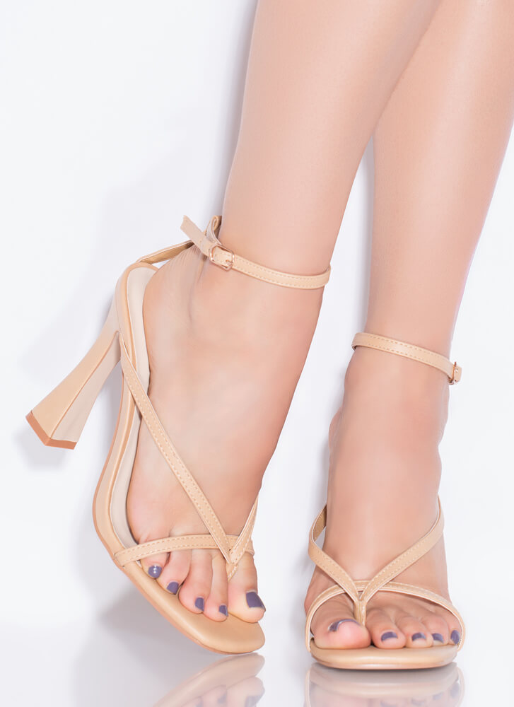 Strappy Summer Faux Leather Thong Heels NATURAL