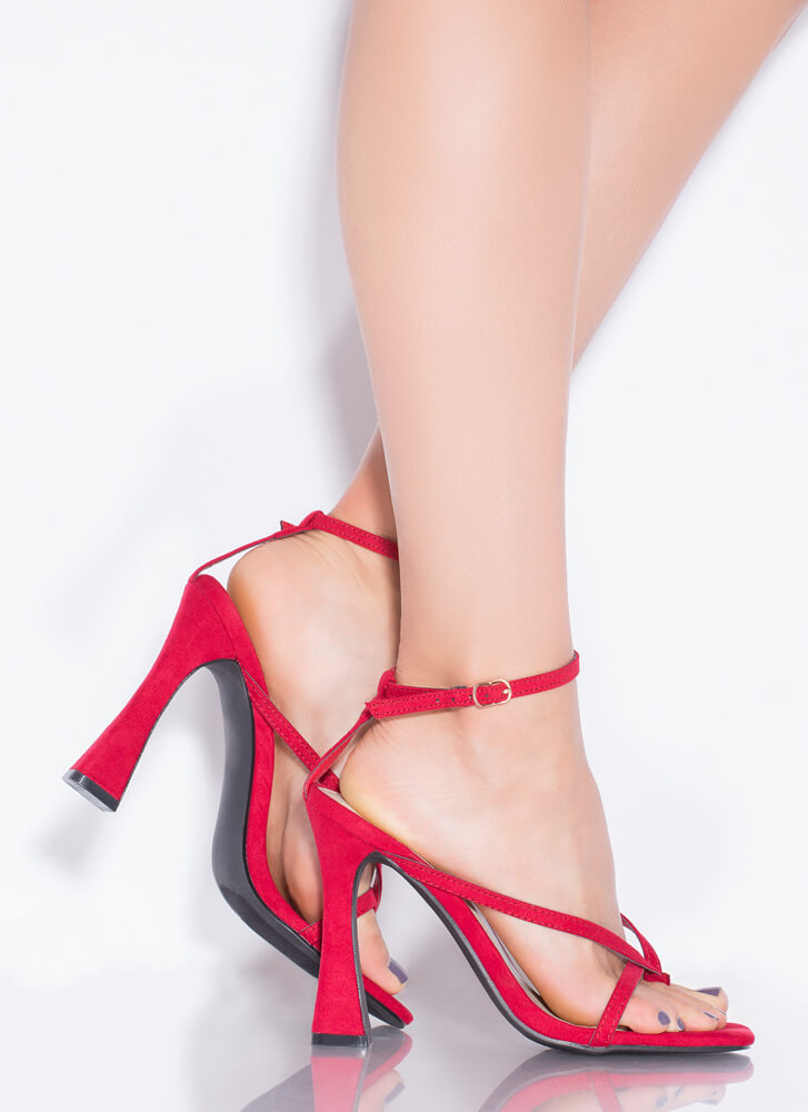 Strappy Summer Faux Suede Thong Heels RED