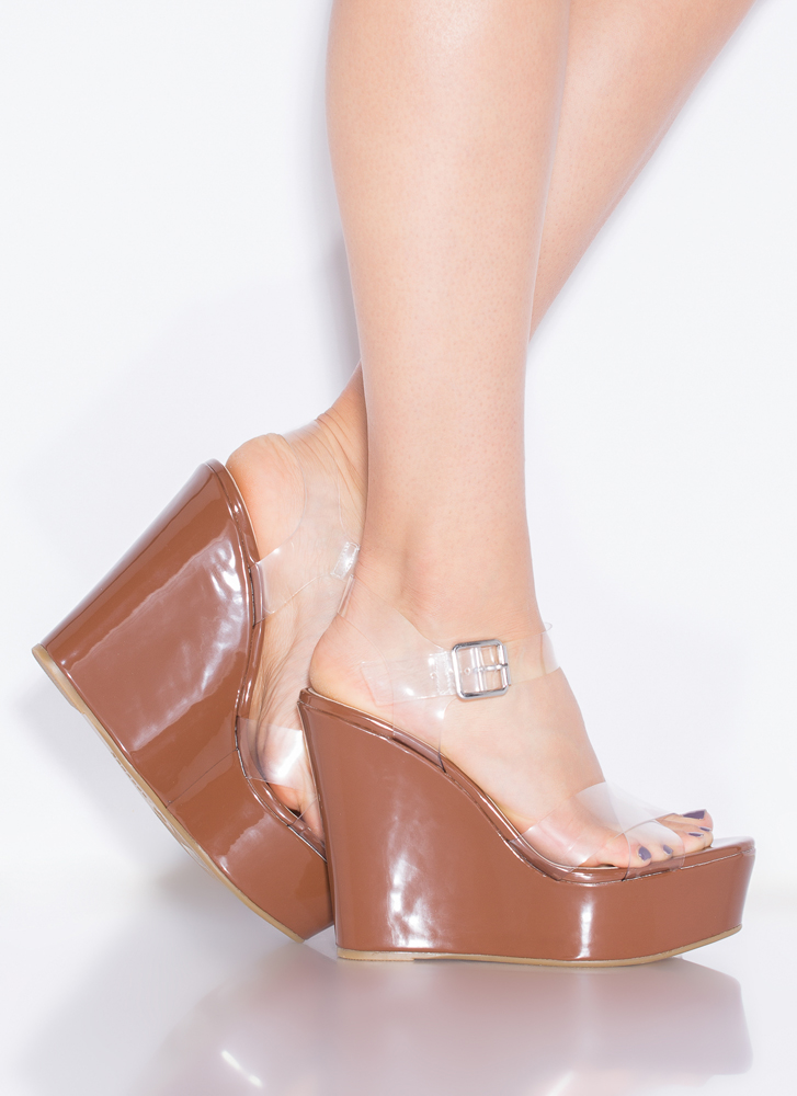 Becoming So Clear Faux Patent Wedges COGNAC