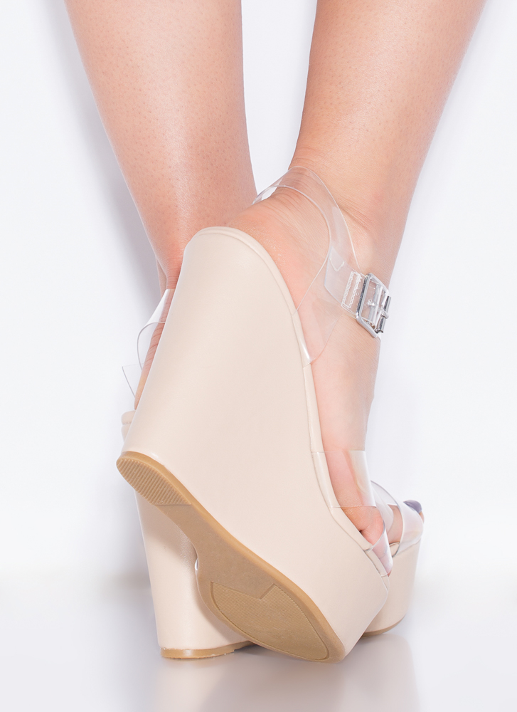 Becoming So Clear Faux Leather Wedges NUDE