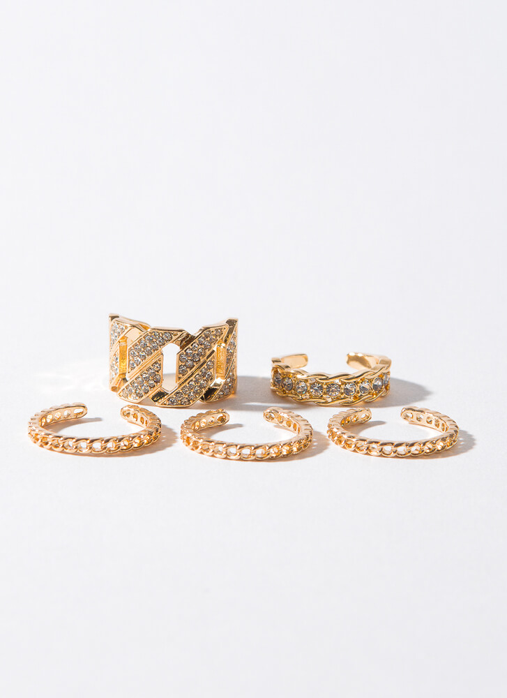 Luxury Links 5-Piece Chain Ring Set GOLD