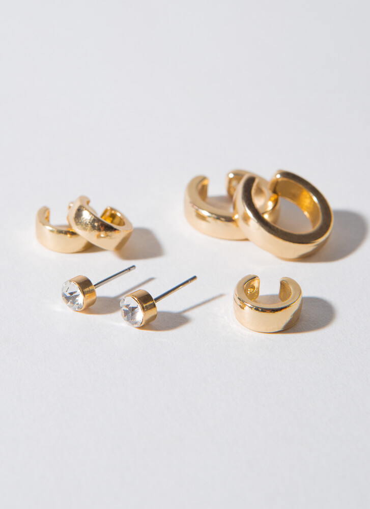 C You Again Cuff And Earring Set GOLD