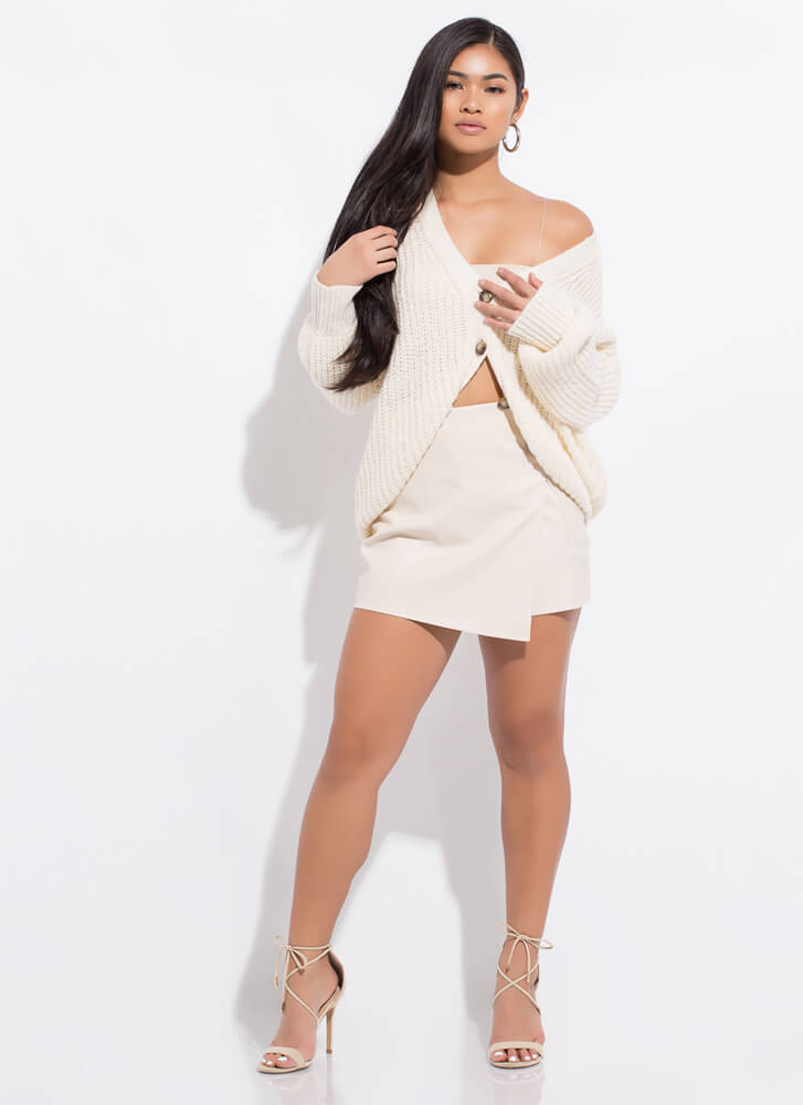 Cozy In Your Arms Slouchy Knit Cardigan CREAM
