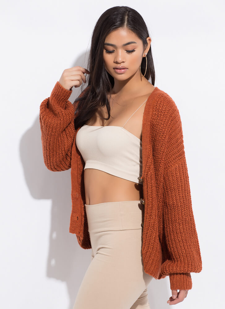 Cozy In Your Arms Slouchy Knit Cardigan ORANGE