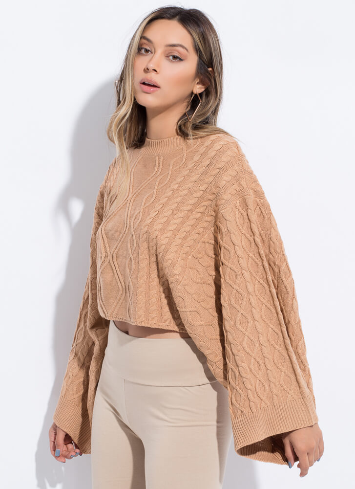 Wing Woman Flared Sleeve Knit Sweater AMBER