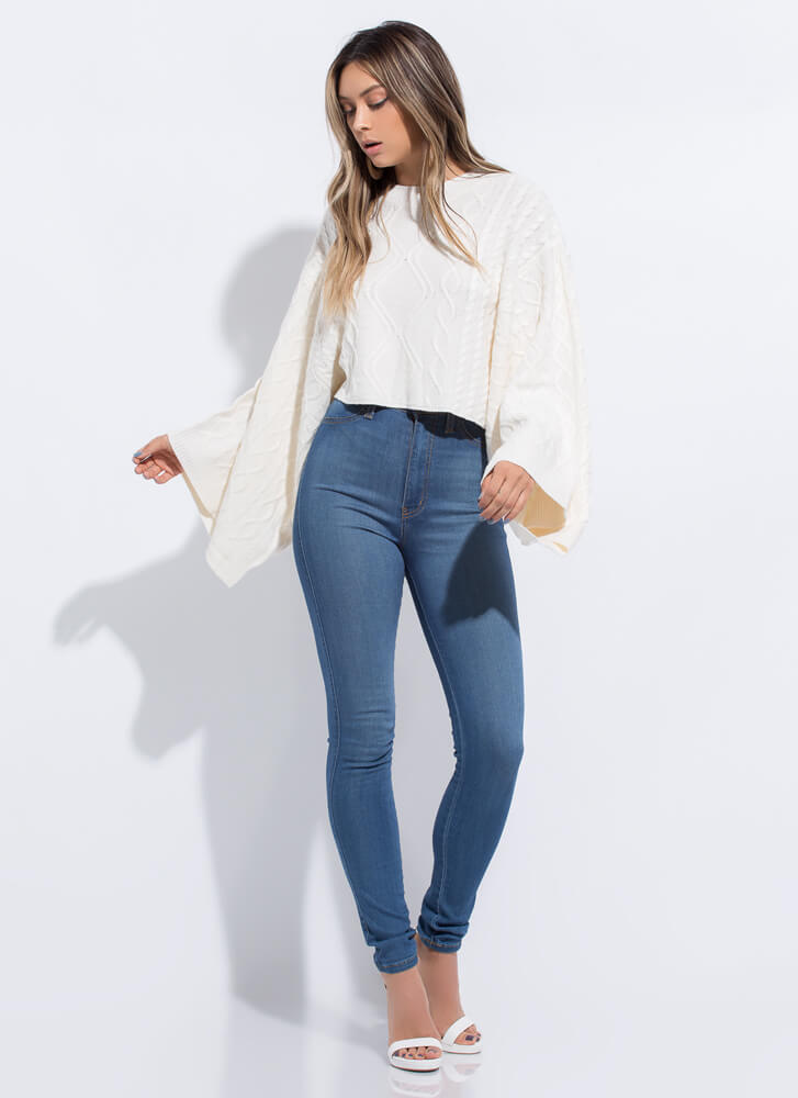 Wing Woman Flared Sleeve Knit Sweater CREAM