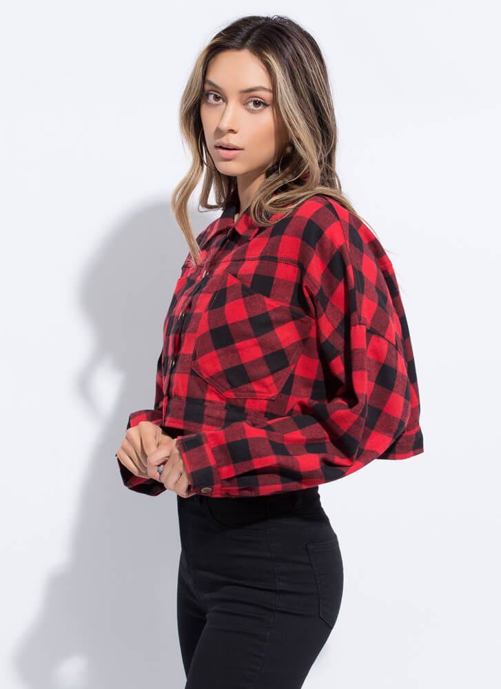 Check It Wide Cropped Buffalo Plaid Top RED