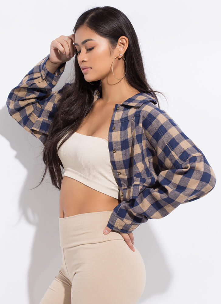 Check It Wide Cropped Buffalo Plaid Top TAUPE