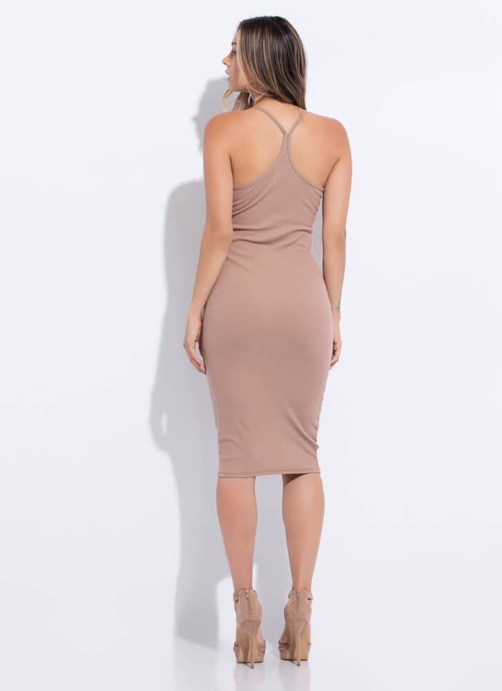 I Want The Deets Racerback Midi Dress TAUPE